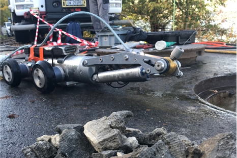 Sewer robotics robot with removed calcium